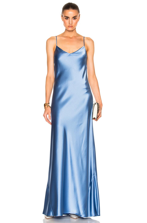 GALVAN for FWRD Alcazar V-Neck Dress in Blue