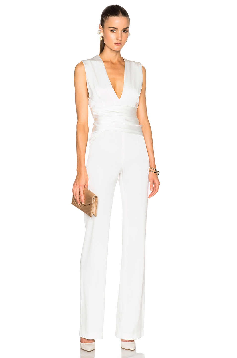 GALVAN Satin Wrap Jumpsuit in White