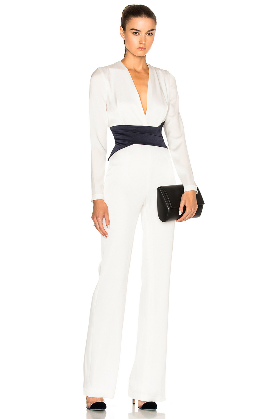 GALVAN Contrast Jumpsuit in White