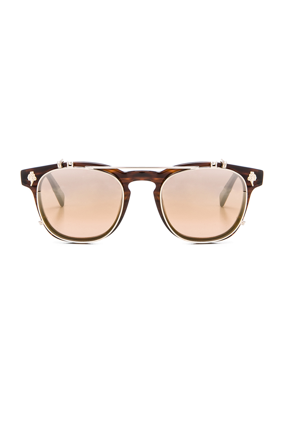 Garrett Leight x Mark McNairy Valdese 46 in Brown,Animal Print