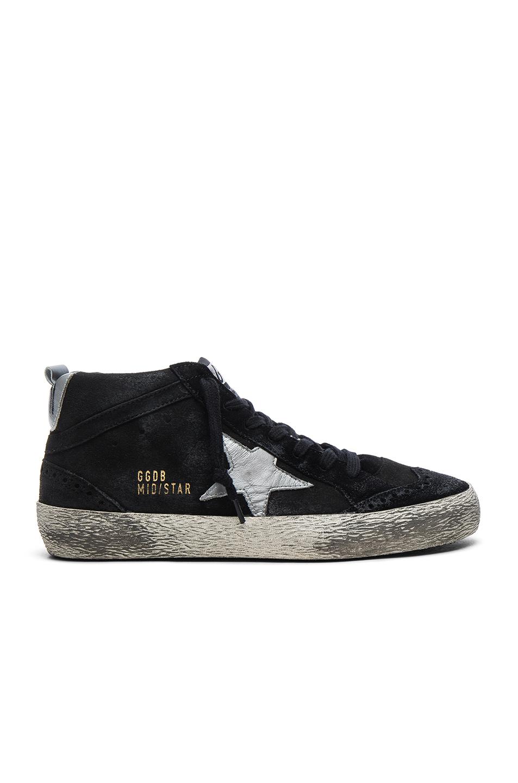 Golden Goose Suede Mid Star Sneakers in Black