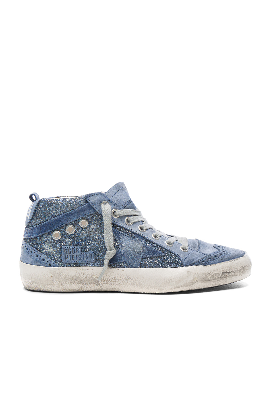 Golden Goose Leather Mid Star Sneakers in Blue
