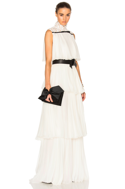 Giambattista Valli Pleated Georgette Tiered Gown in White