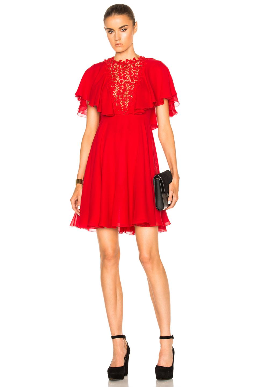 Giambattista Valli Georgette Lace Insert Dress in Red