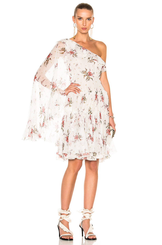 Giambattista Valli One Shoulder Mini Dress in Floral,White