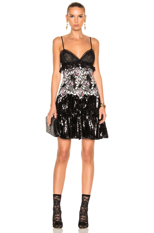 Giambattista Valli Sequin Mini Dress in Black,Floral