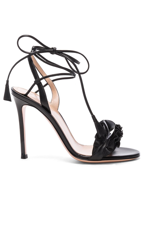 Gianvito Rossi Leather Ruffle Heels in Black
