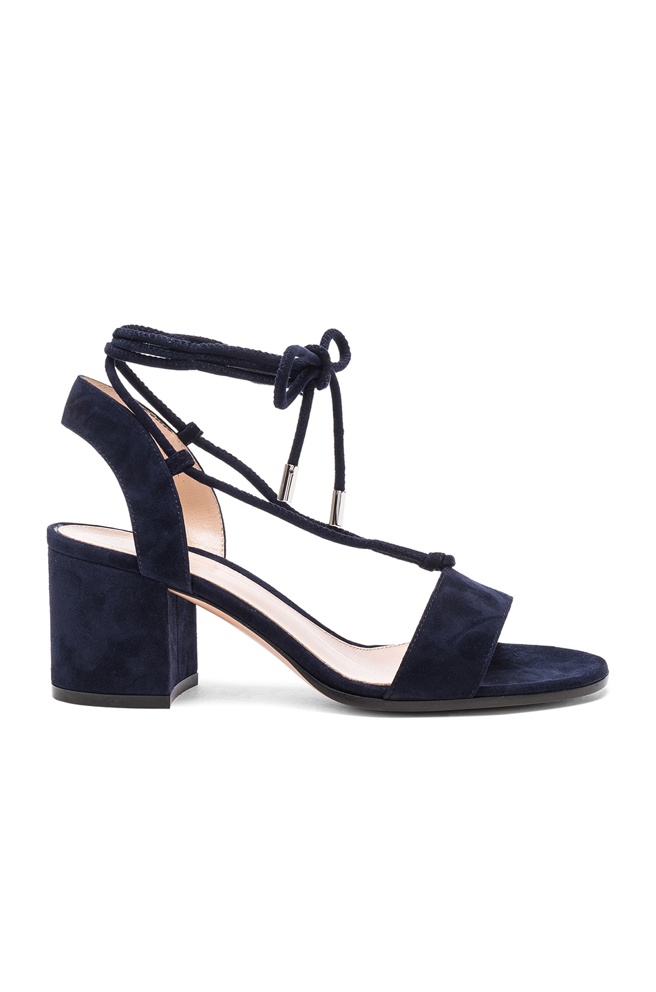 Gianvito Rossi Suede Lace Up Leather Sandals in Blue