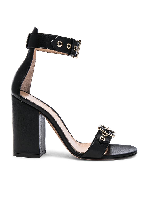 Gianvito Rossi Leather Hayes Buckle Detail Heels in Black