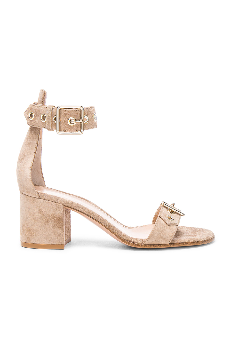 Gianvito Rossi Suede Hayes Buckle Detail Sandals in Neutrals