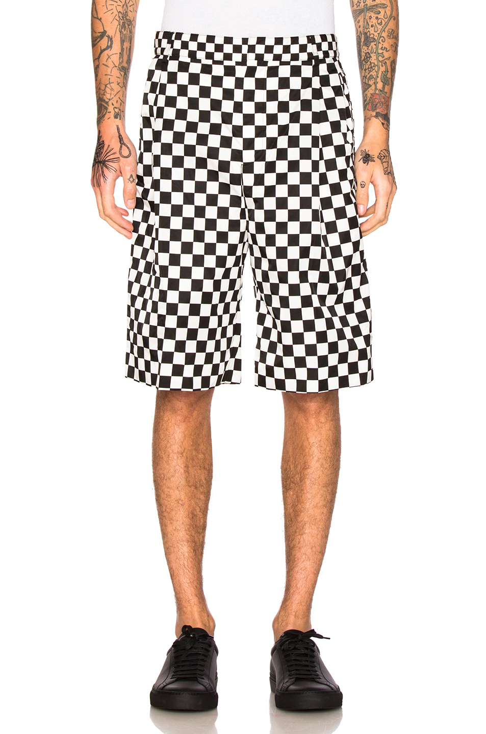 Givenchy Checkerboard Print Shorts in Black,White,Checkered & Plaid