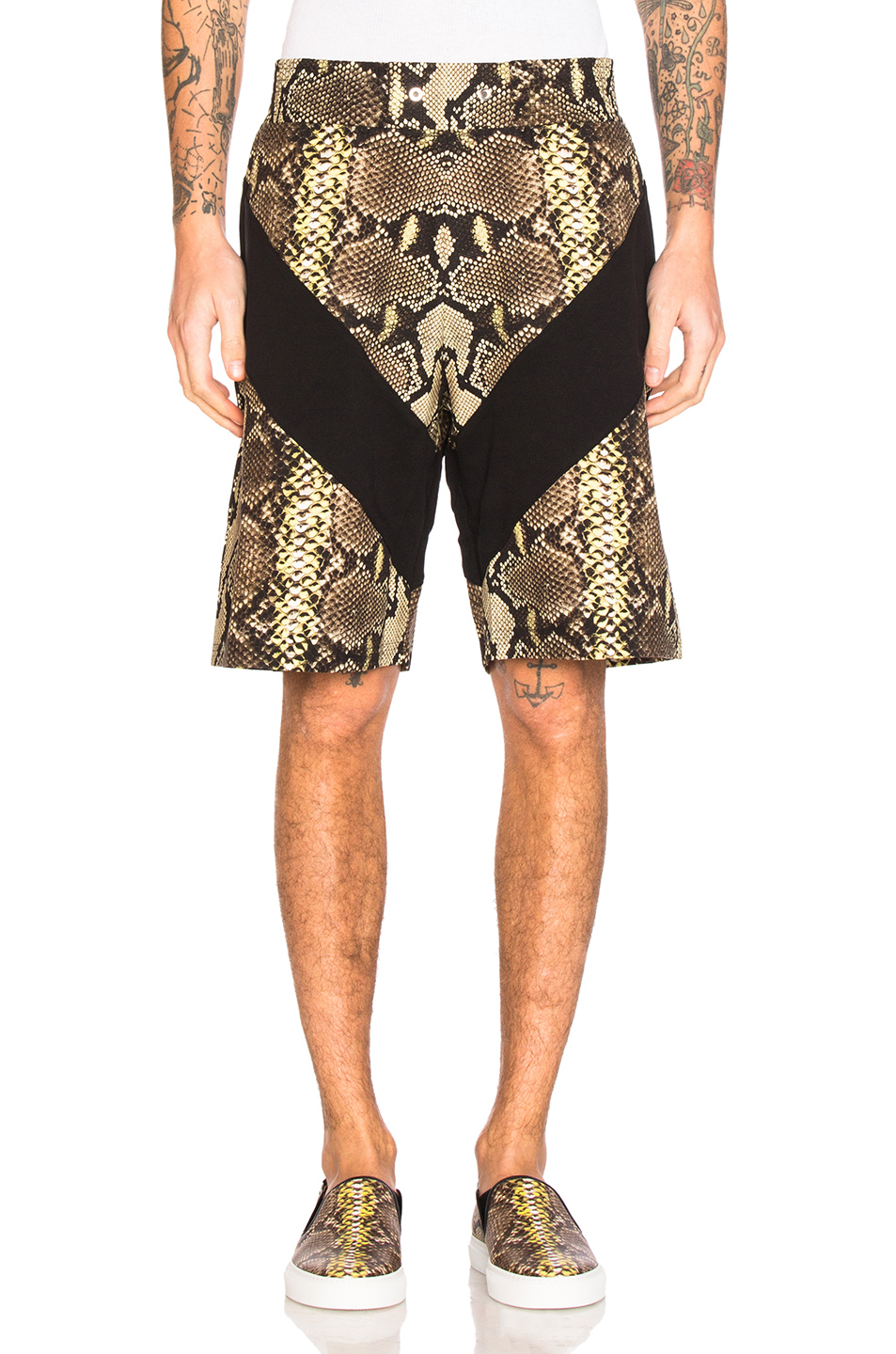 Givenchy Snake Print Bermuda Shorts in Animal Print,Yellow,Brown