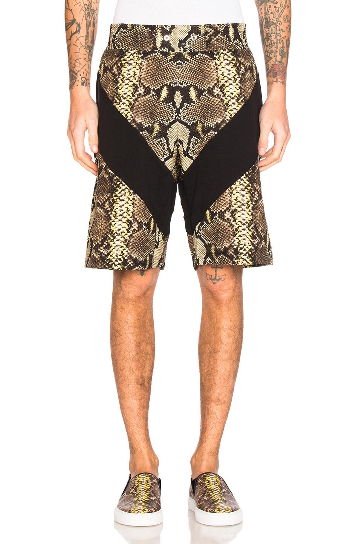 Givenchy Snake Print Bermuda Shorts in Animal Print,Yellow,Brown
