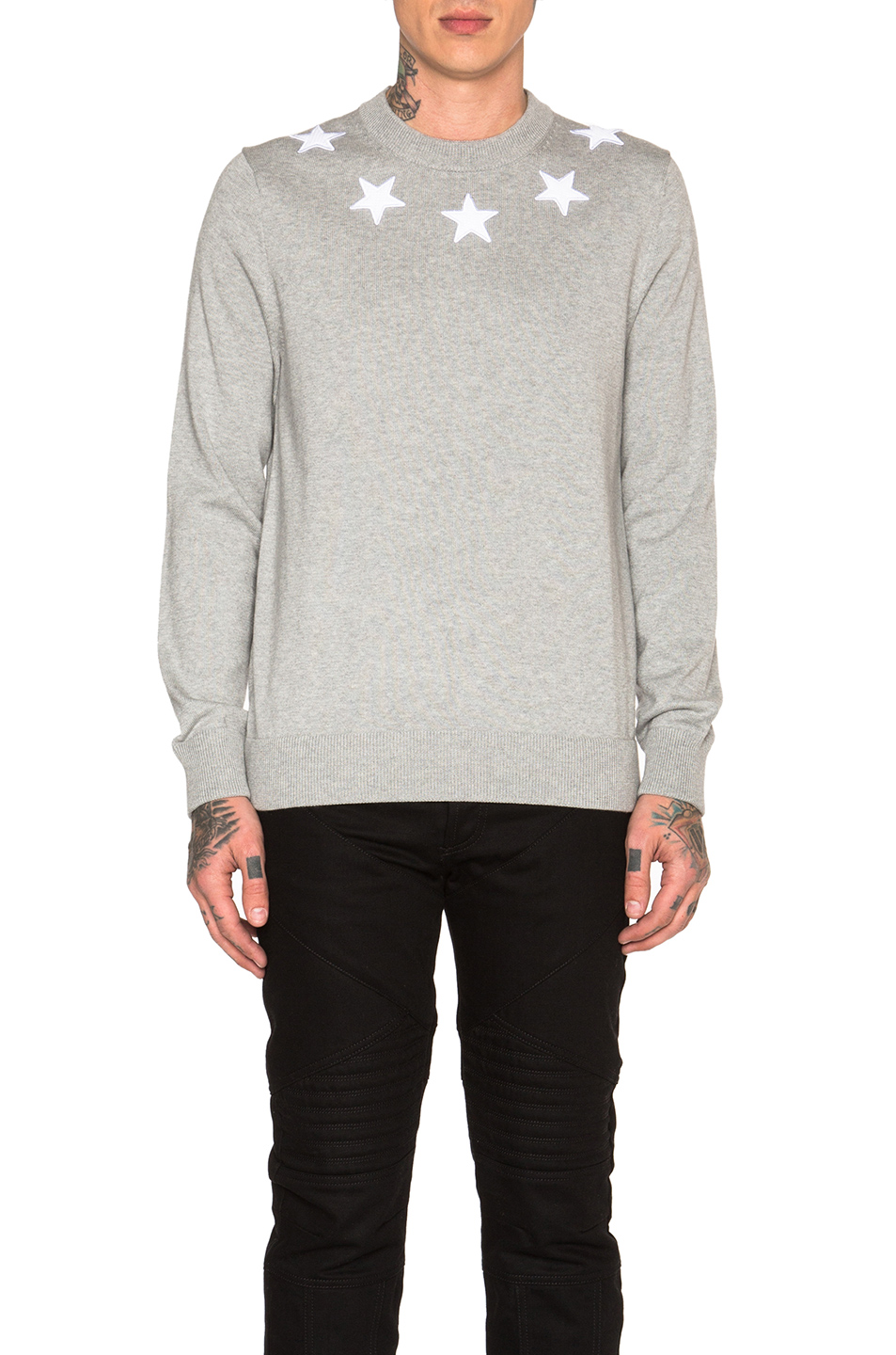 Givenchy Star Collar Crew Neck Jumper in Gray
