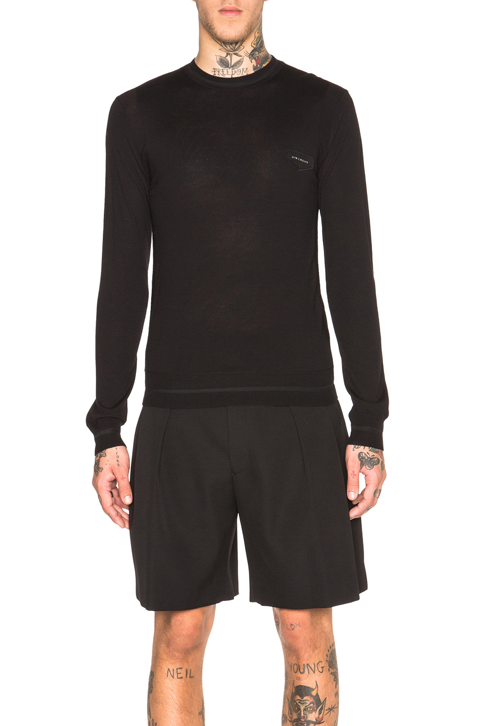 GIVENCHY Crew Neck Patch Jumper in Black