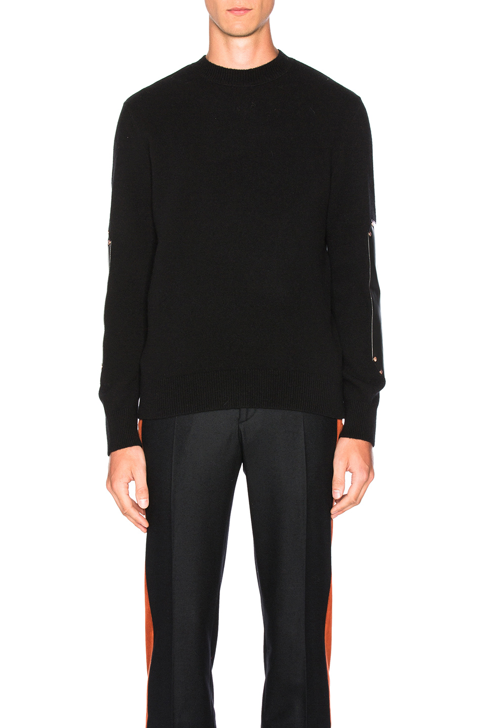Givenchy Wool & Leather Patches Sweater in Black