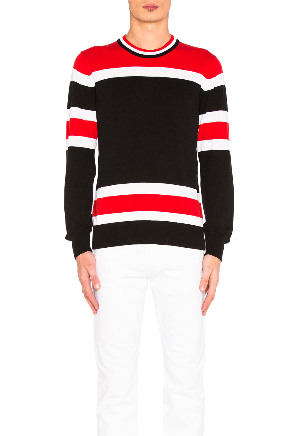 Givenchy Light Gauge Stripe Sweater in Black,Stripes,Red