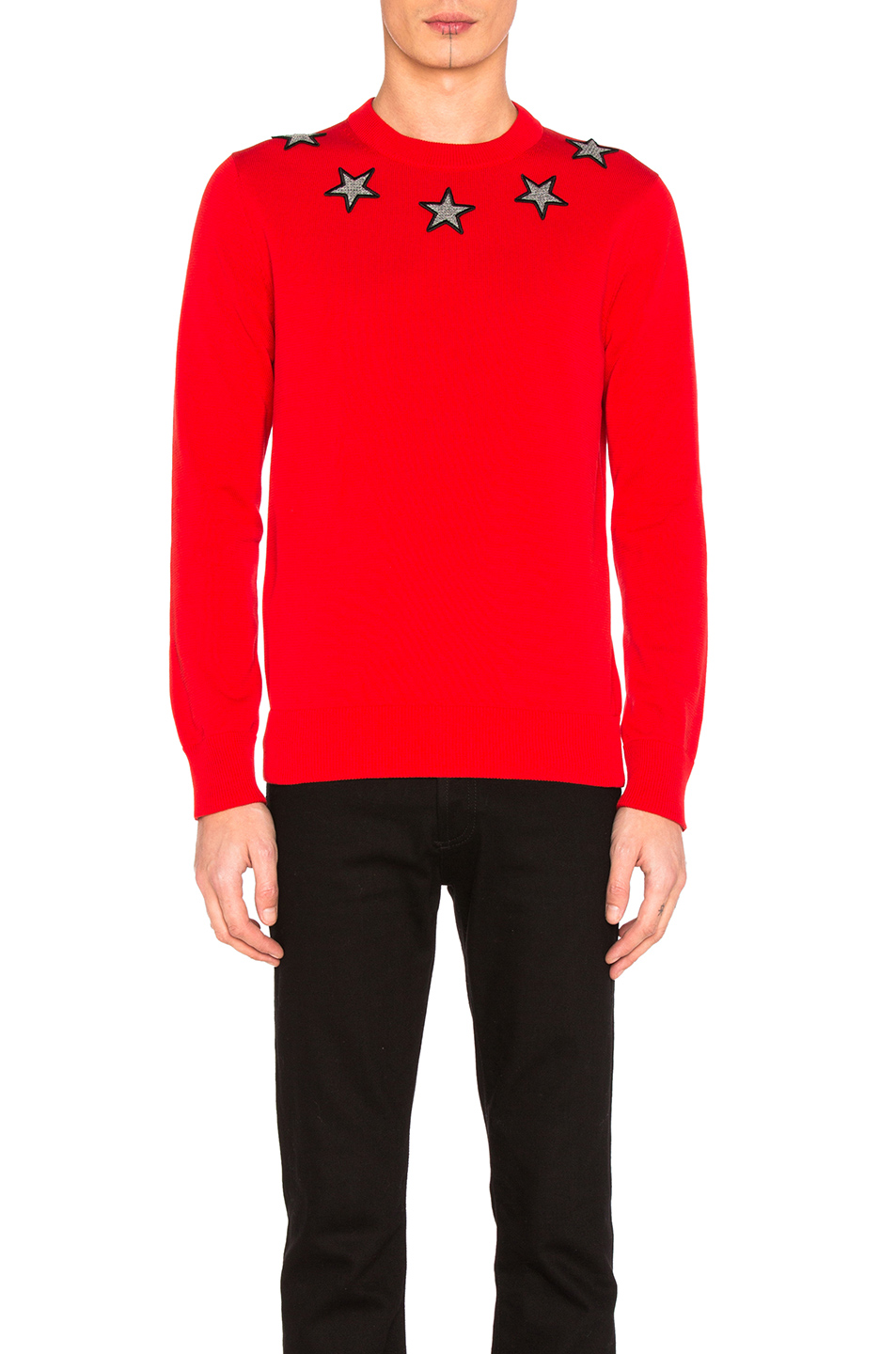 Givenchy Star Collar Sweater in Red