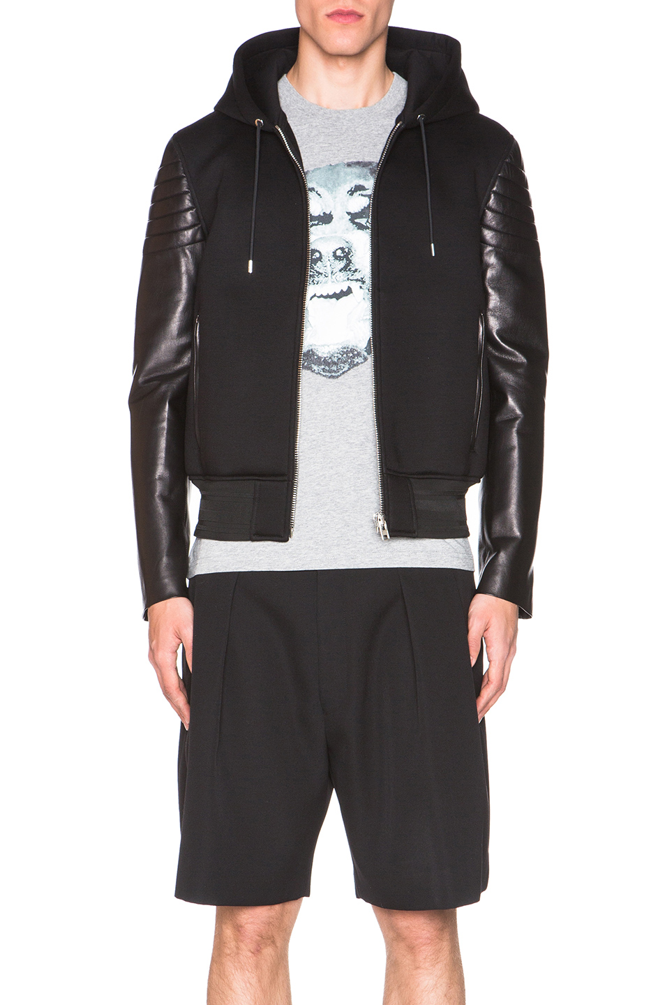 Givenchy Leather & Neoprene Hoodie in Black
