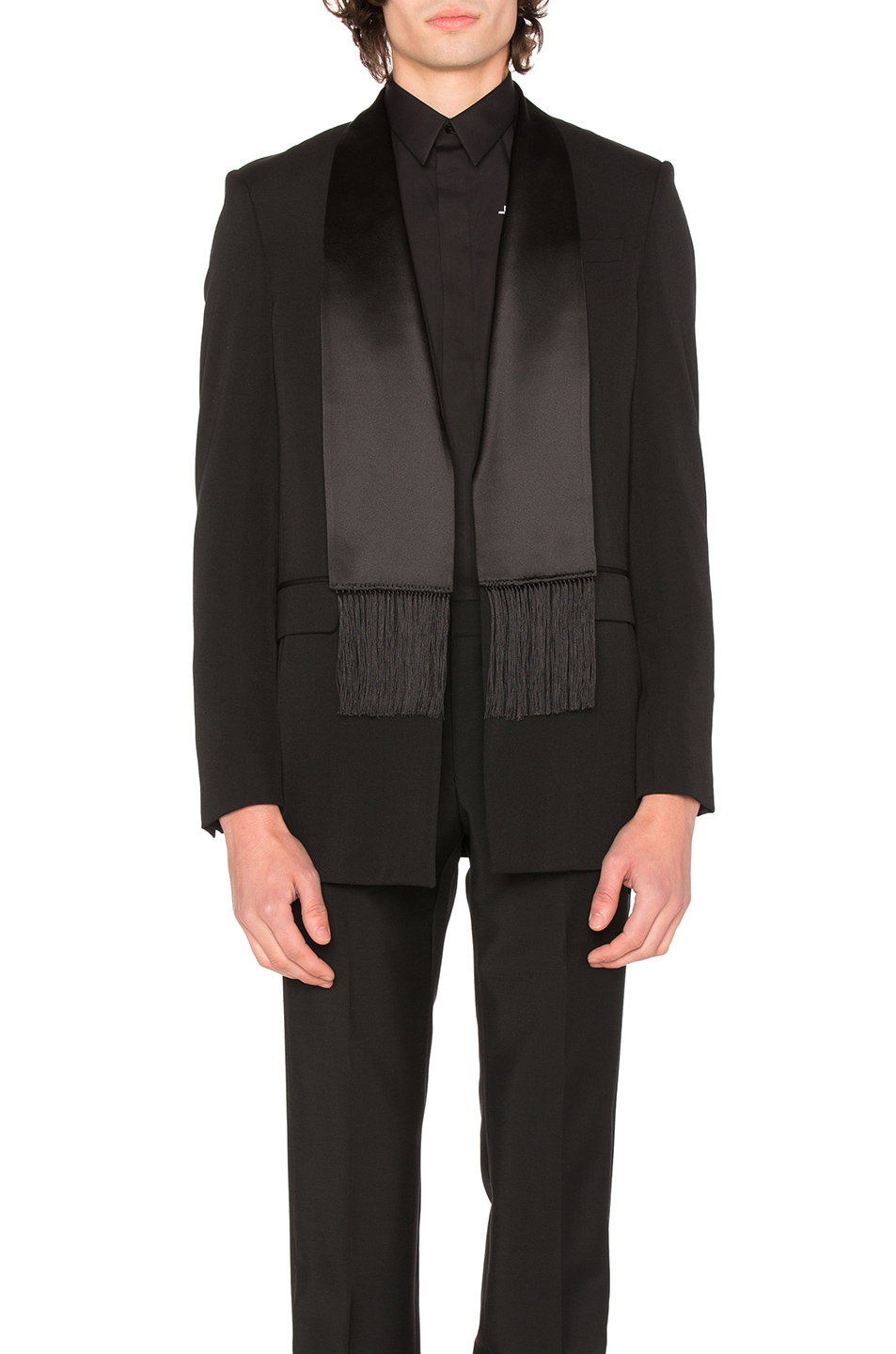 Photo of Givenchy Single Breast Scarf Collar Jacket in Black - shop Givenchy menswear
