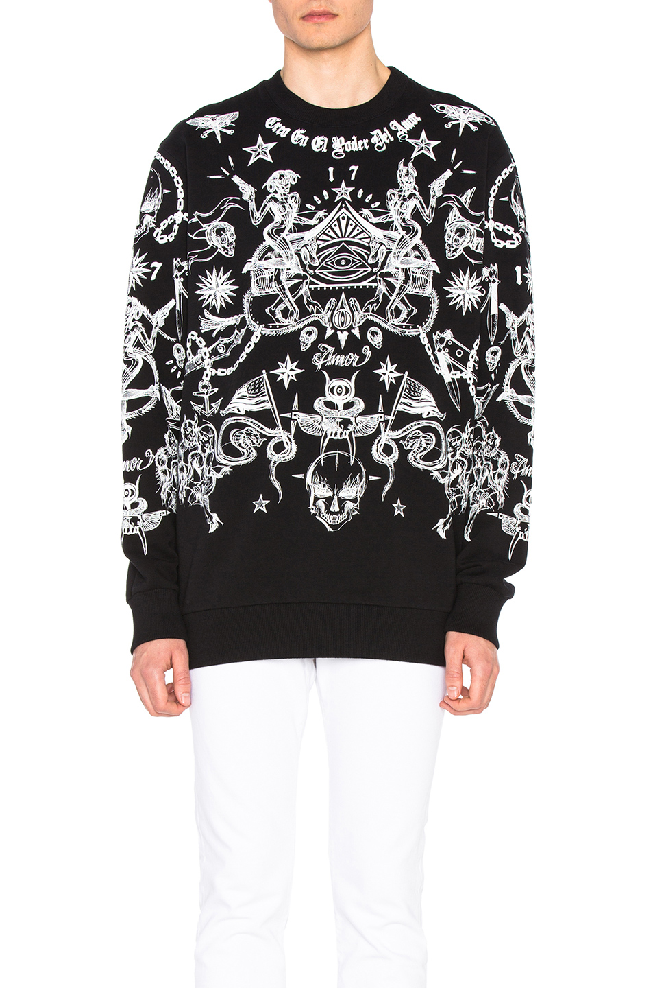 Givenchy Tattoo All Over Sweatshirt in Black,Abstract