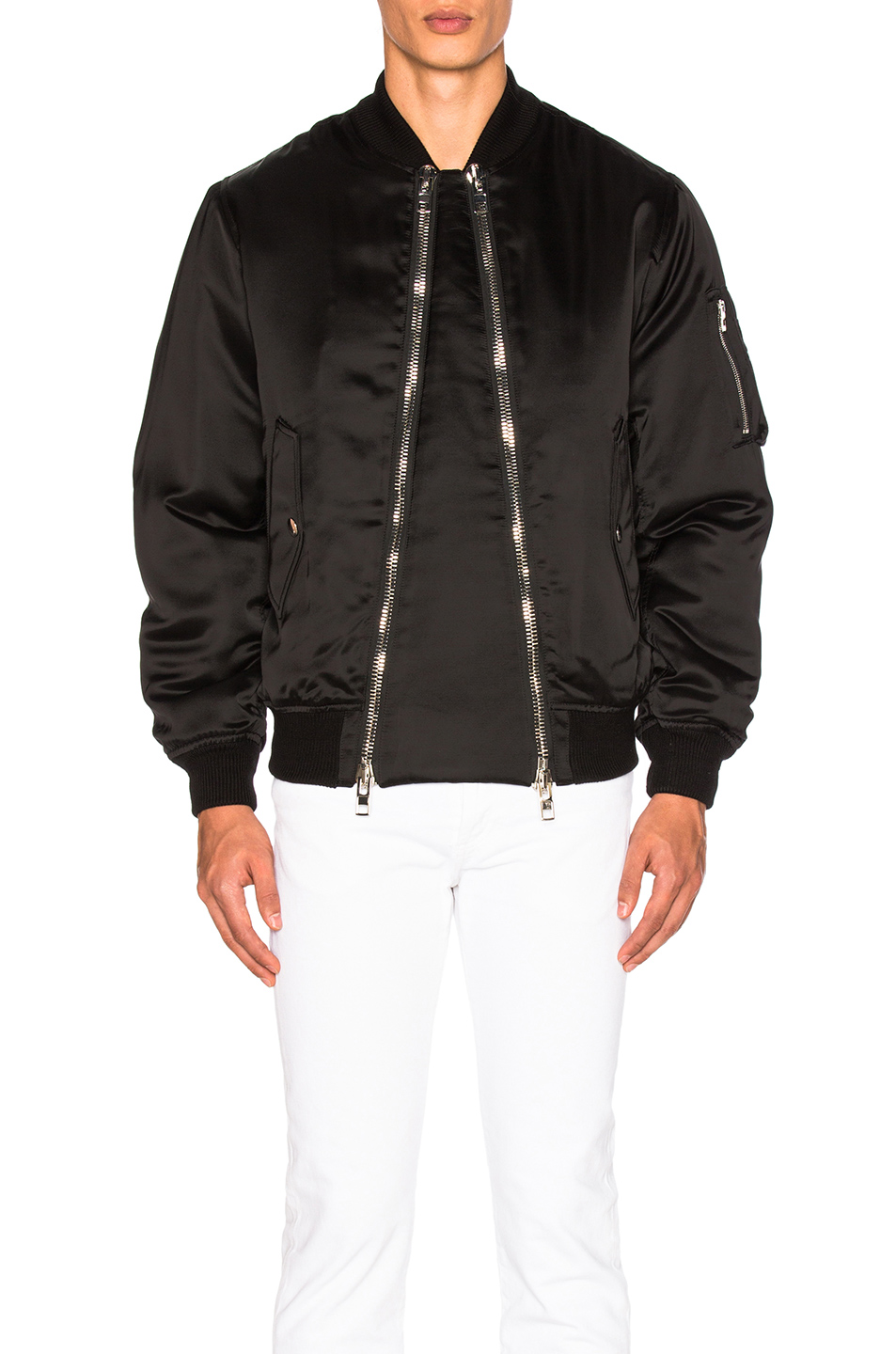 Givenchy Viscose Silk Bomber Jacket in Black