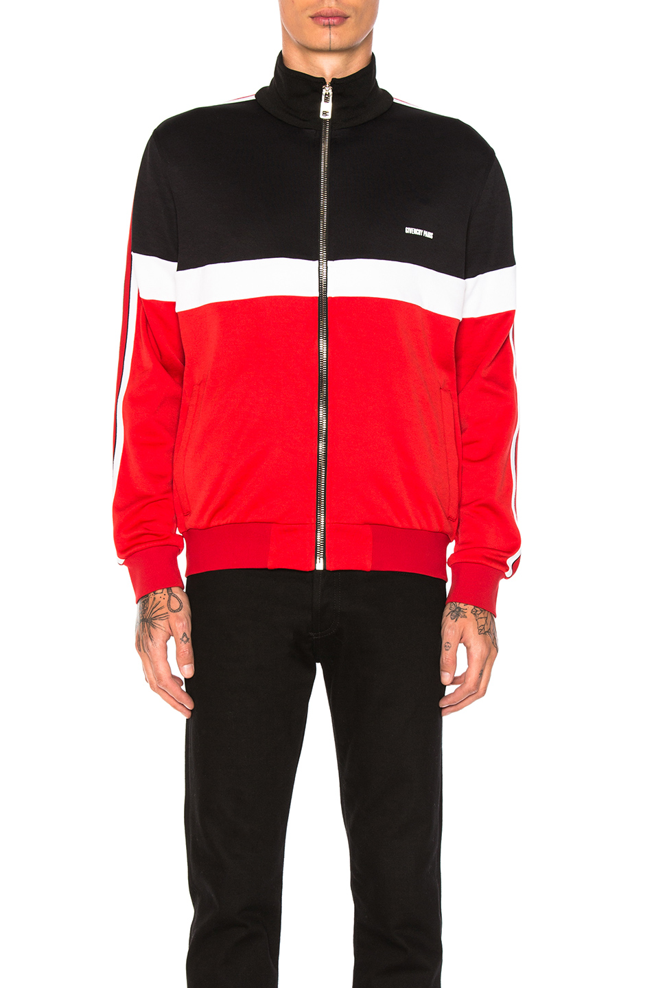 Givenchy Track Jacket in Black,Red,Stripes,White