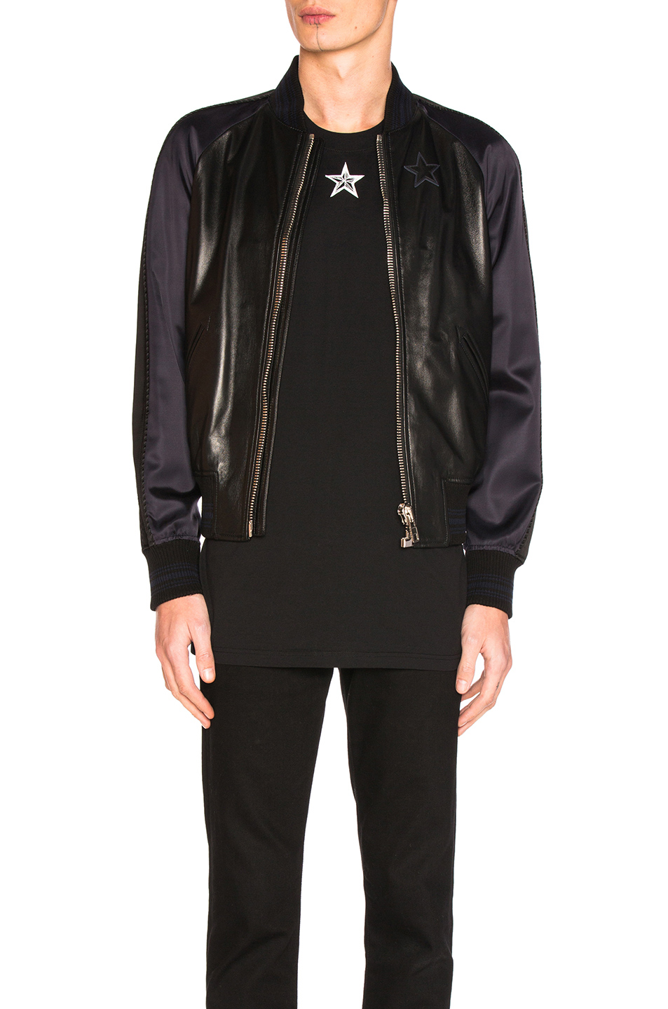 Givenchy Lamb Leather Bomber Jacket in Blue