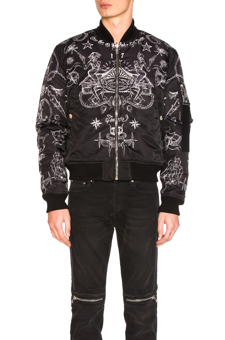 Givenchy Printed Bomber Jacket in Black