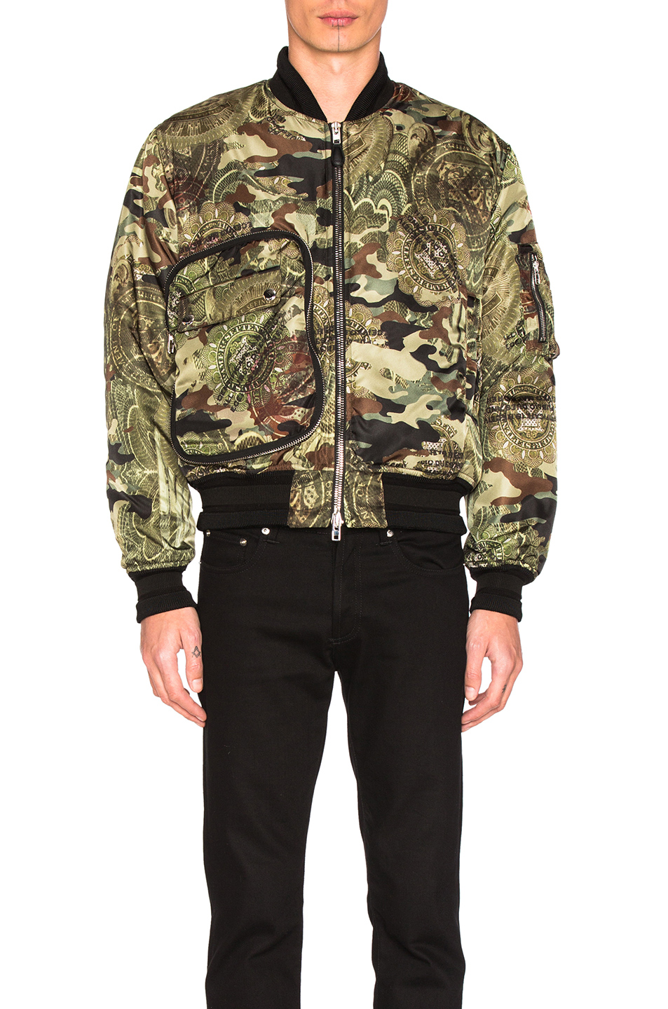 Givenchy Printed Bomber Jacket in Green,Abstract