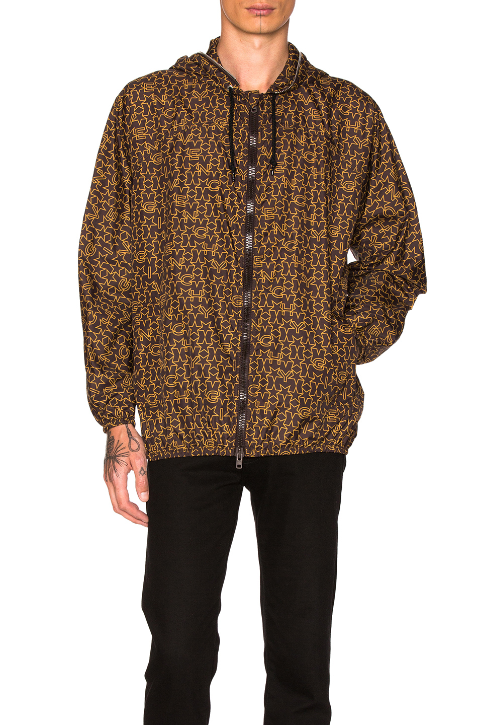 Givenchy Printed Lightweight Jacket in Abstract,Brown,Geometric Print,Yellow