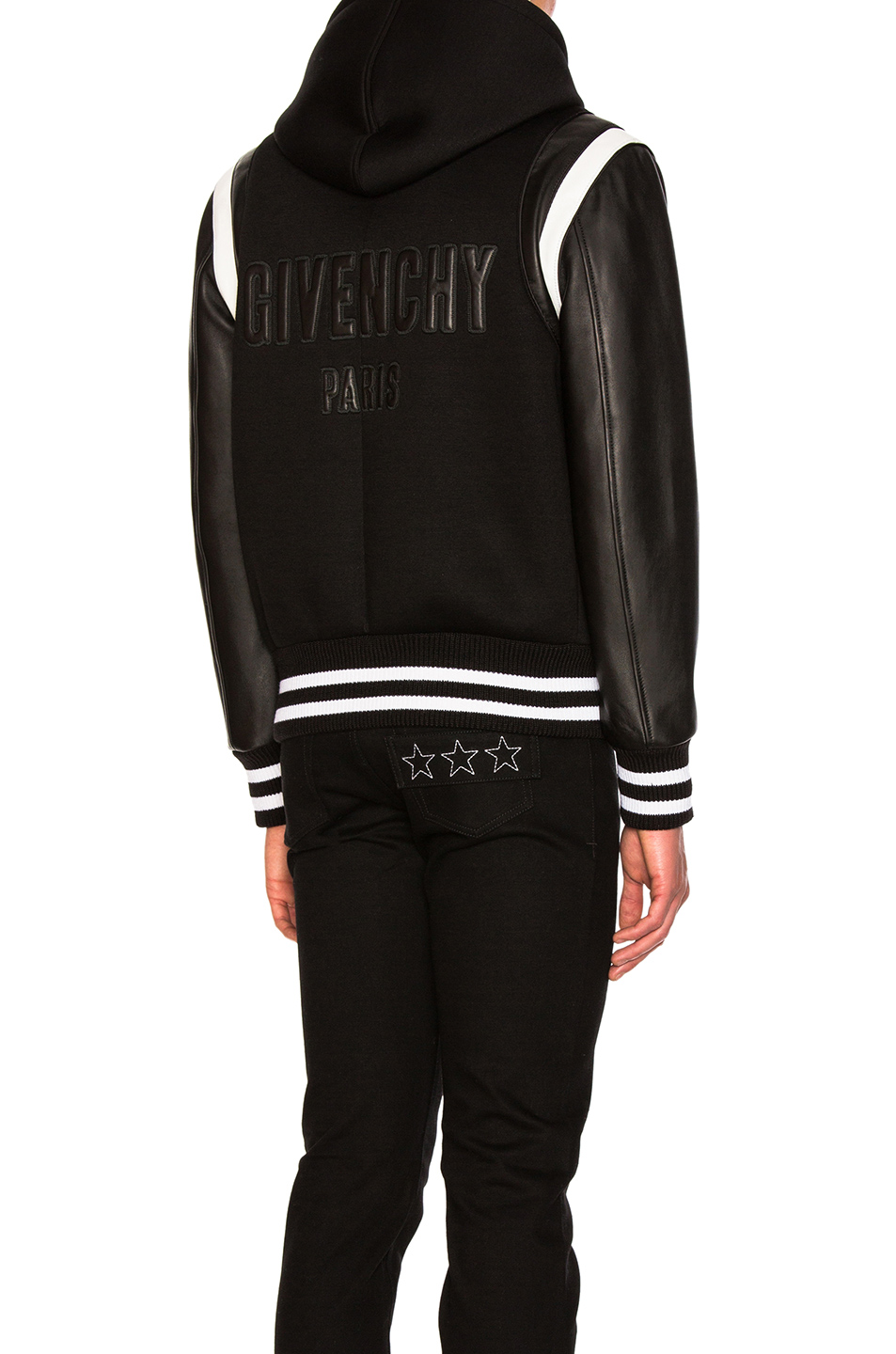 Givenchy Hooded Leather & Neoprene Bomber in Black