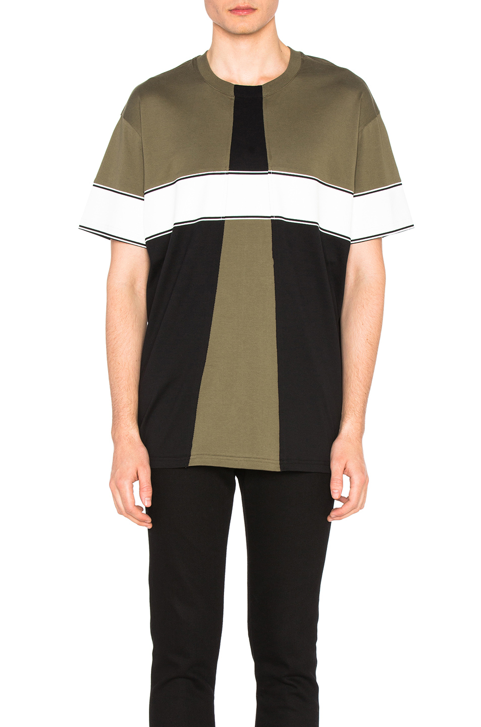 Givenchy Colorblock Tee in Green,Black