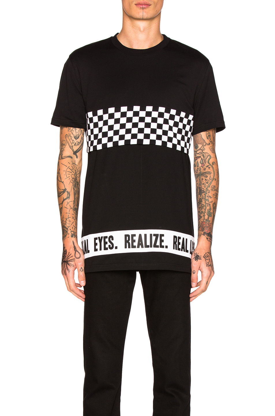 Givenchy Cropped Checkerboard Tee in Black,Checkered & Plaid
