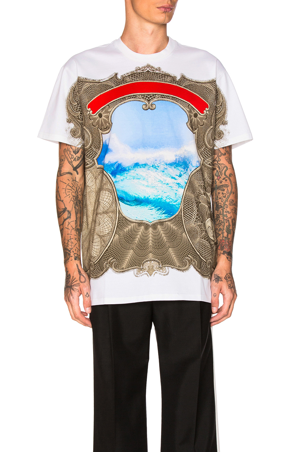 Givenchy Wave Print Tee in Blue,Brown,Neutral,White