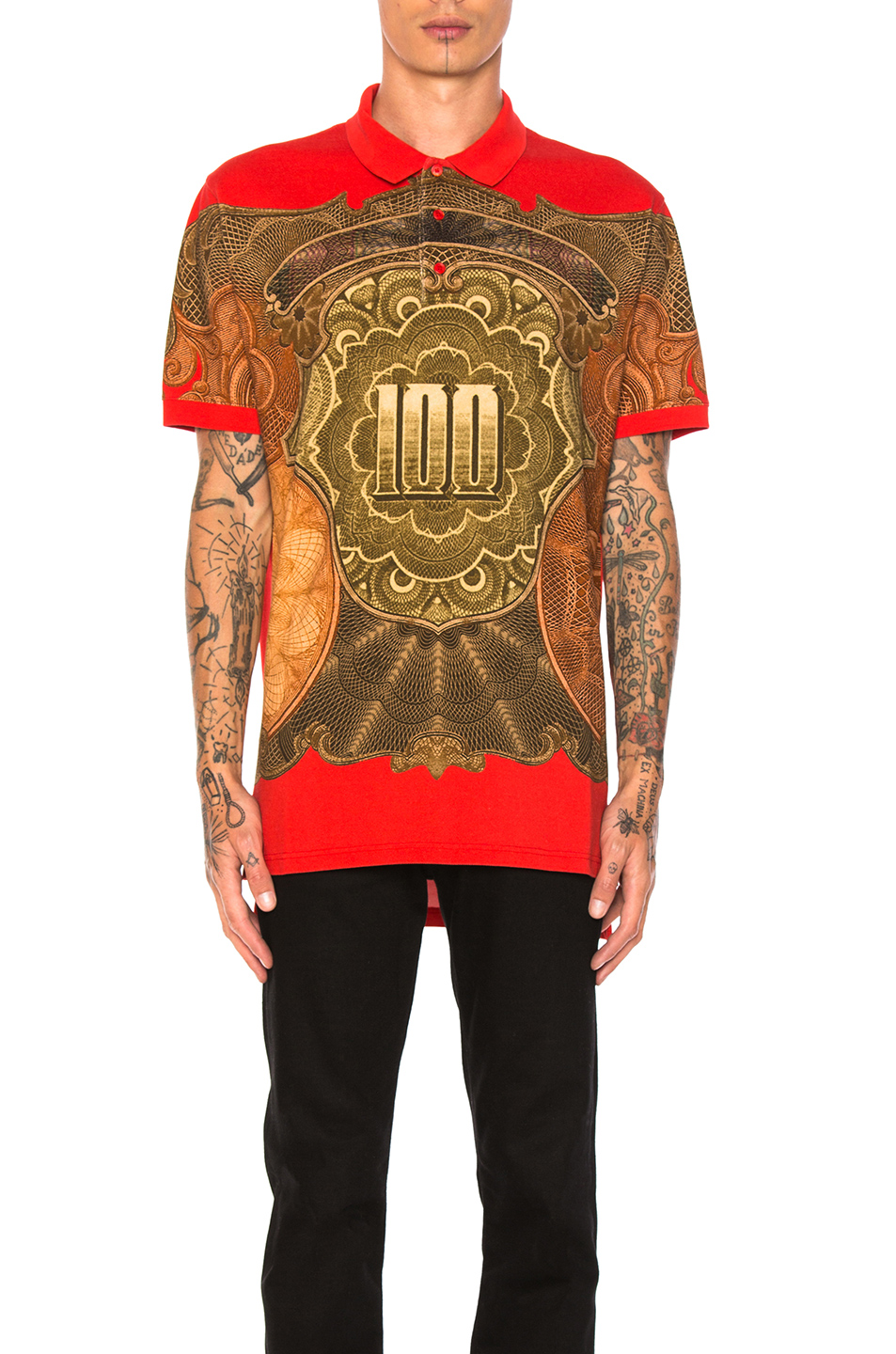 Givenchy Money Print Polo in Abstract,Red