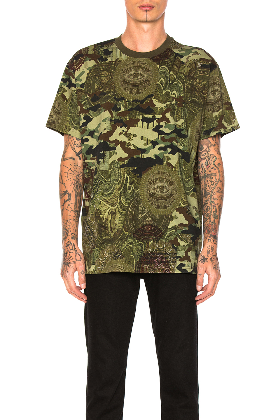 Givenchy Money Print Tee in Abstract,Green