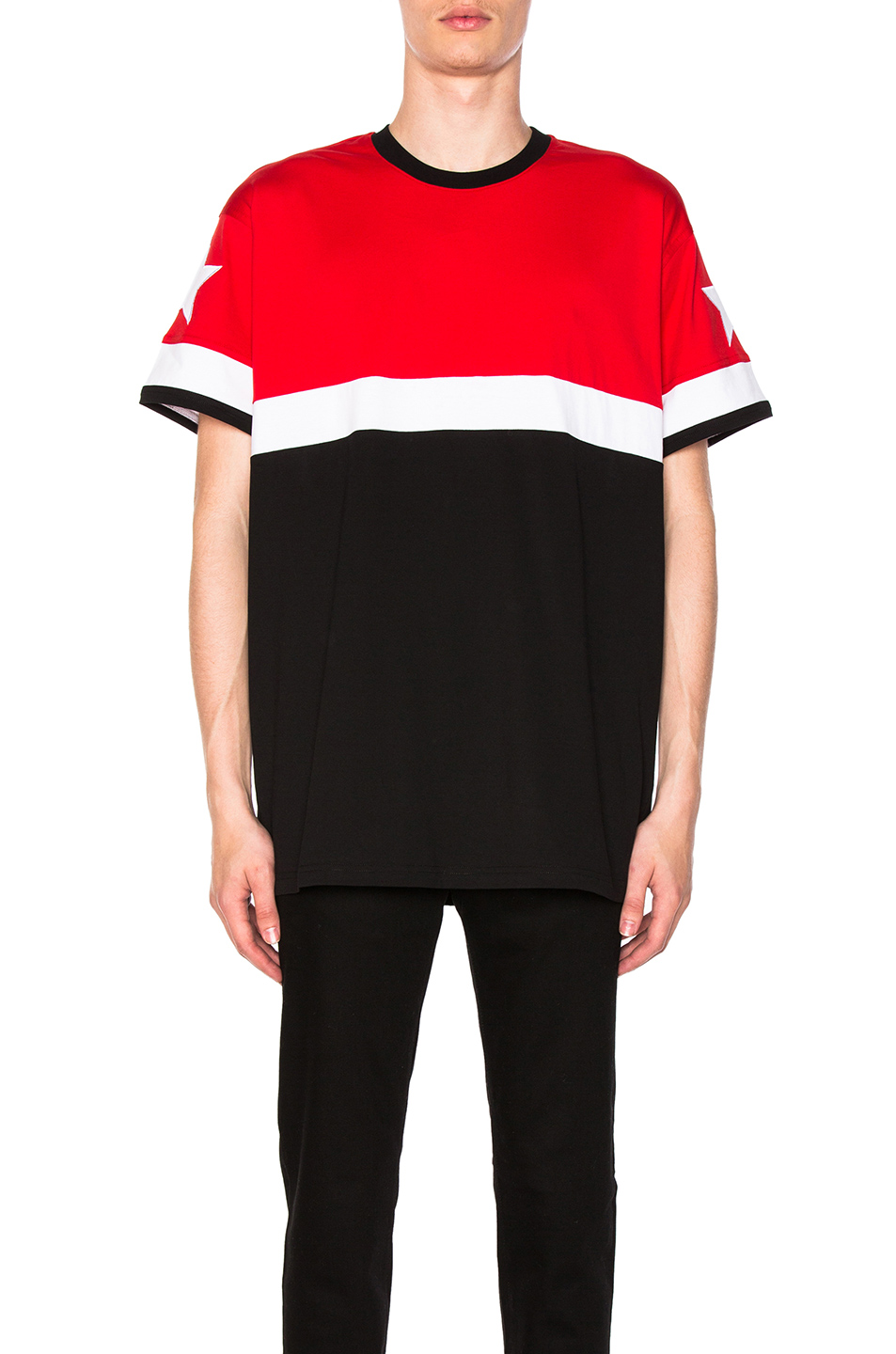 Givenchy Colorblock Tee in Red,Black