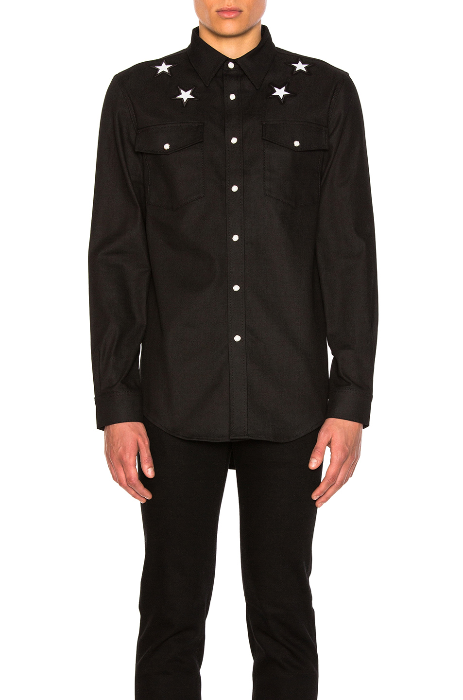 Givenchy Denim Shirt with Stars in Black