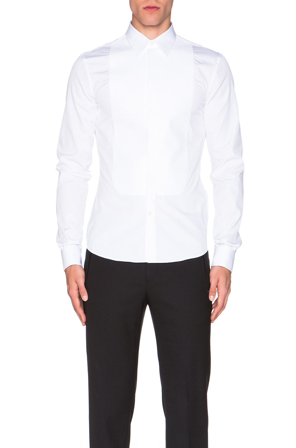 Givenchy Slim Fit Bib Shirt in White