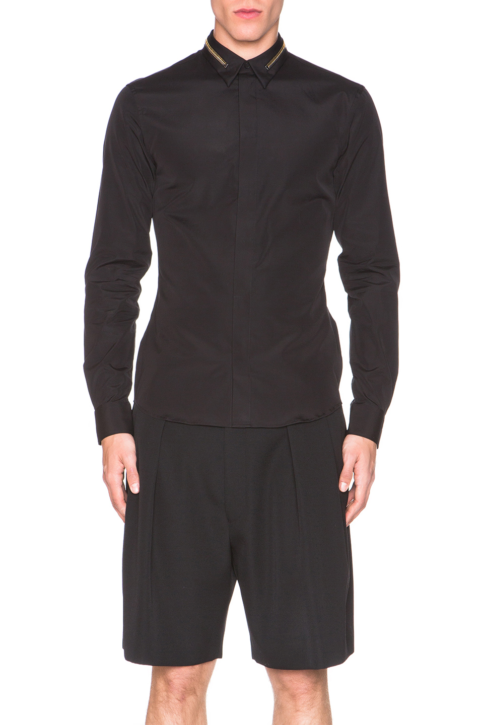 Givenchy Zip Collar Button Down Shirt in Black