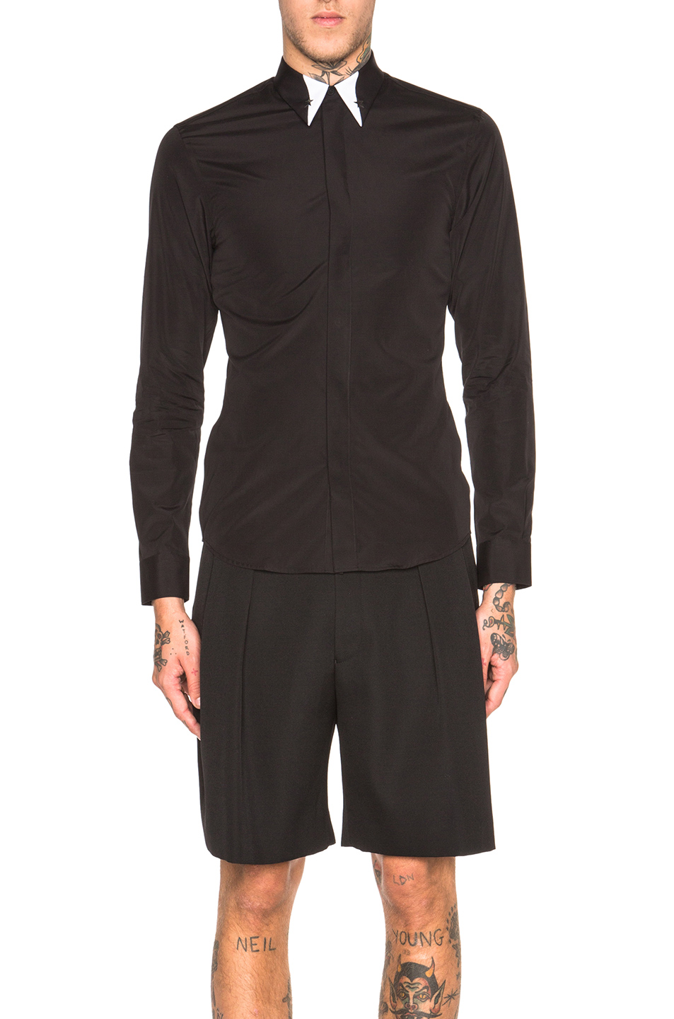 GIVENCHY Silver Star Contrast Collar Shirt in Black