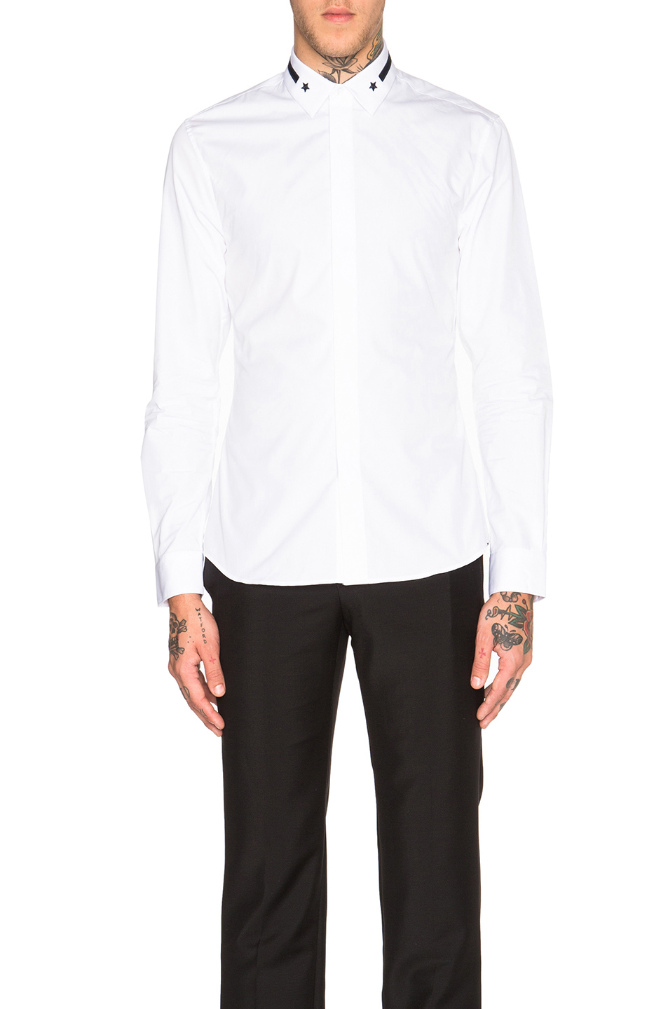 GIVENCHY Embroidered Band & Star Collar Shirt in White