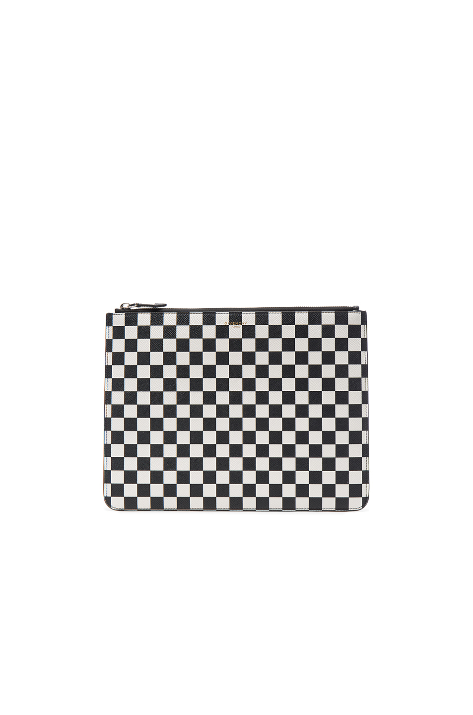 Photo of Givenchy Large Zip Pouch in Black,White,Checkered & Plaid - shop Givenchy menswear