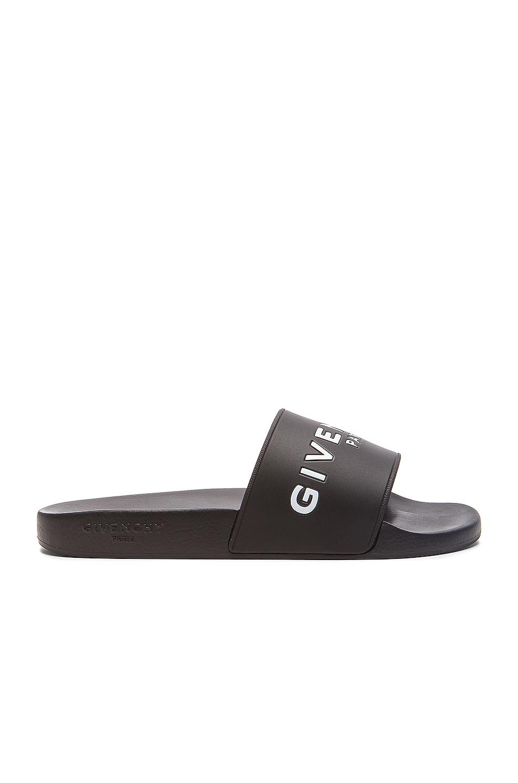 GIVENCHY Polyurethane Slide Sandals in Black