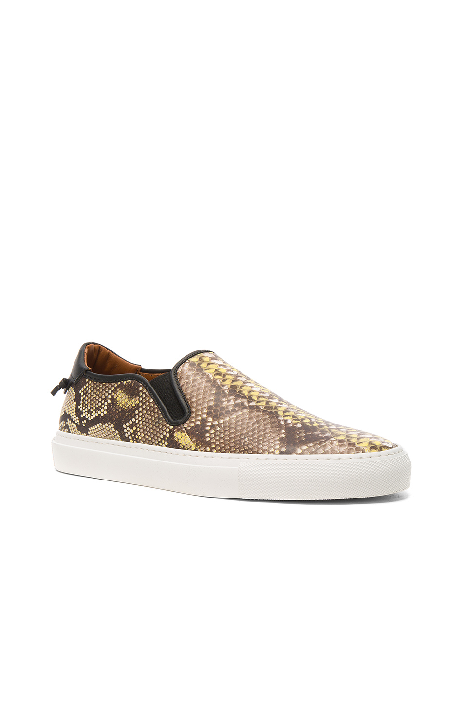Givenchy Python Printed Slip On Printed Leather Sneakers in Animal Print,Yellow,Brown