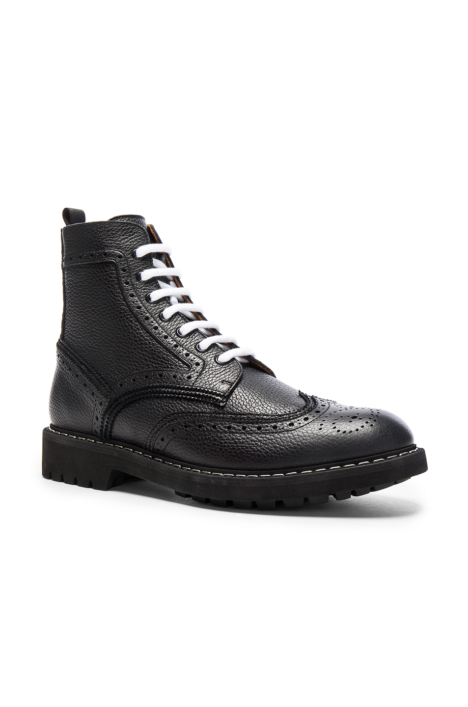 Givenchy Leather Wingtip Boots in Black