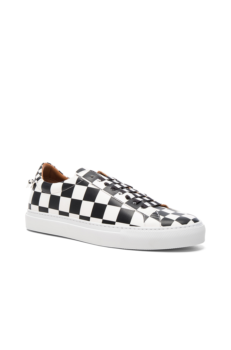 Givenchy Leather Urban Street Low Sneakers in Black,White,Checkered & Plaid