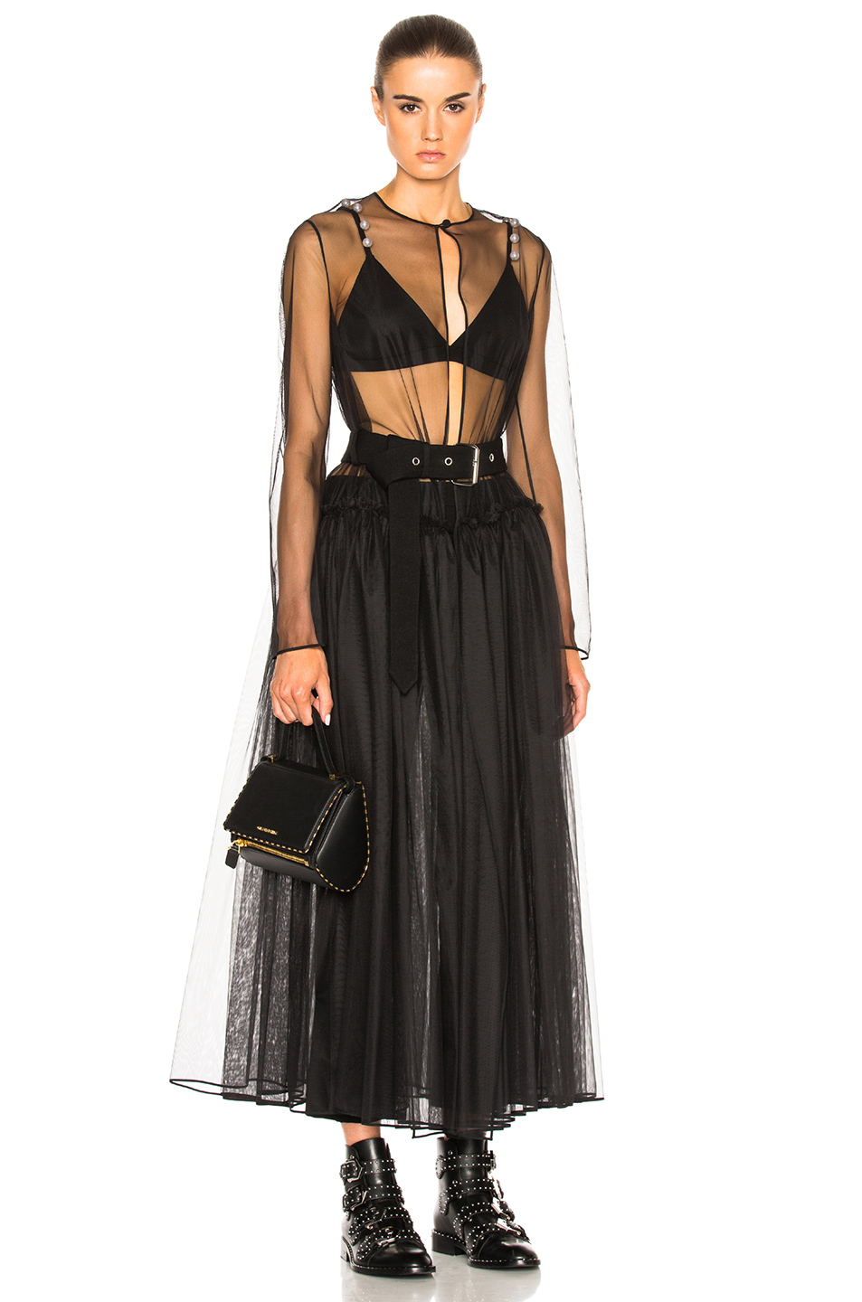 Givenchy Technical Tulle Dress With Belt in Black