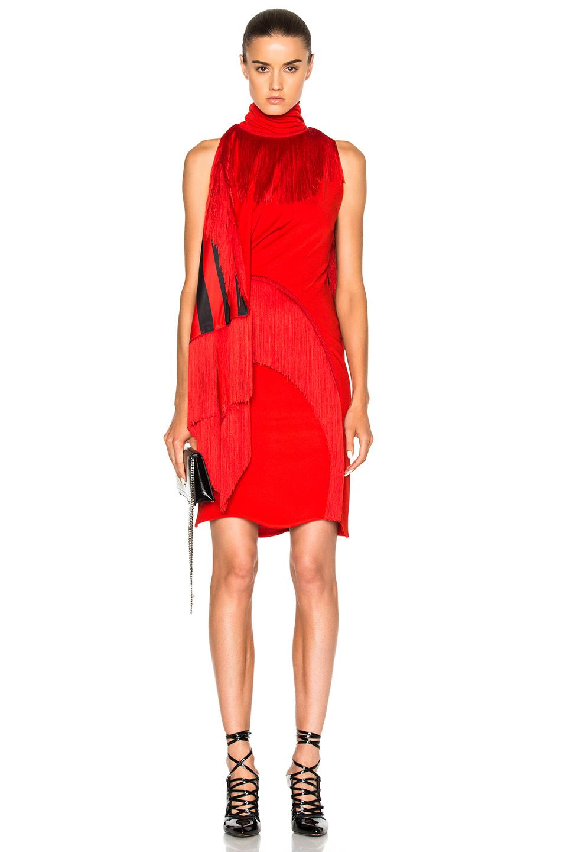Givenchy Fringe Detail Mini Dress in Red,Stripes